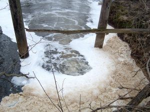 photo of sludge and foam on water